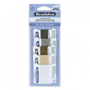Beadalon Zijde draad 5st. Black, White, Grey, Beige, Brown
