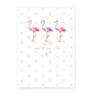 "Sieraden kaartjes ""You are one in a million"" met flamingo White-pink"