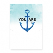 "Sieraden kaartjes ""You are my anchor"" White-blue"