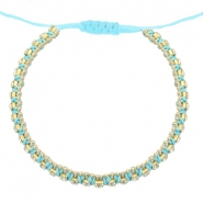 Trendy armbanden strass Light turquoise blue-crystal