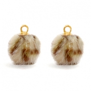 Pompom bedels Faux fur leopard Brown
