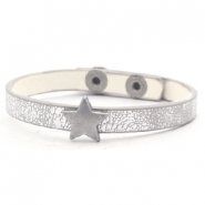 Trendy armbanden stud star Metallic silver grey
