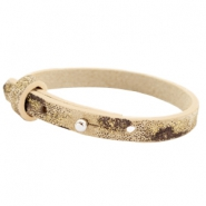 Cuoio armbanden leer 8 mm voor 12 mm cabochon Mellow buff beige Panther