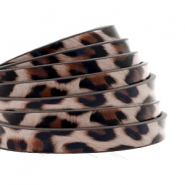 Plat 5 mm imi leer leopard print Taupe