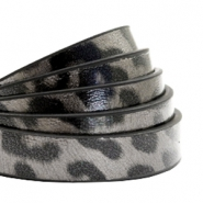 Plat 10 mm imi leer leopard print Taupe grey
