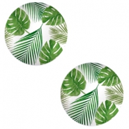 Cabochon basic 20mm Tropical leaves-white