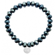 Sisa top facet armbandjes 8x6mm (RVS bedel) Dark greige montana blue-top shine coating