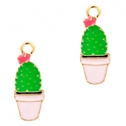 Basic quality metalen bedels cactus Gold-pink green