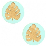 Houten cabochon blad 12mm Turquoise