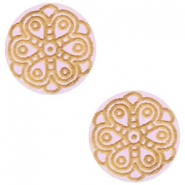 Houten cabochon mandala 12mm Light lavender purple