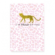 "Sieraden kaartjes ""proud of you"" Leopard white-pink"