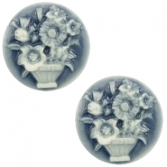 Cabochon basic camee 20mm boeket Dark blue-off white
