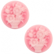 Cabochon basic camee 20mm boeket Pink-white