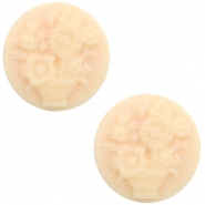 Cabochon basic camee 20mm boeket Light peach-beige