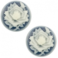 Cabochon basic camee 20mm roos Dark blue-off white