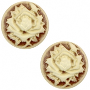 Cabochon basic camee 12mm roos Brown-antique gold