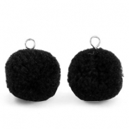Pompom bedels met oog 15mm Black-silver