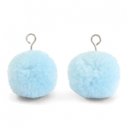 Pompom bedels met oog 15mm Light blue-silver