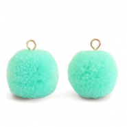 Pompom bedels met oog 15mm Turquoise green-gold