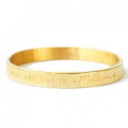 "Roestvrij stalen (RVS) Stainless steel armbanden ""YOU ARE ONE IN A MILLION"" Goud"
