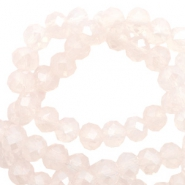 Top Facet kralen 6x4 mm disc Light rose pink opal-pearl shine coating