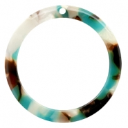 Resin hangers 35mm rond Turquoise-bruin