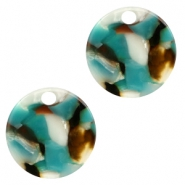 Resin hangers 19mm rond Turquoise-bruin