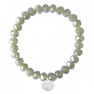 Sisa top facet armbandjes 8x6mm (RVS bedel) Dark khaki green-pearl shine coating
