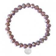 Sisa top facet armbandjes 8x6mm (RVS bedel) Dark grape purple-pearl shine coating