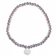 Sisa top facet armbandjes 4x3mm (RVS bedel) Dark grape purple-pearl shine coating