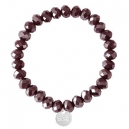 Sisa top facet armbandjes 8x6mm (RVS bedel) Burgundy red-pearl shine coating