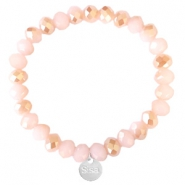 Sisa top facet armbandjes 8x6mm (RVS bedel) Ginger pink-pearl shine coating