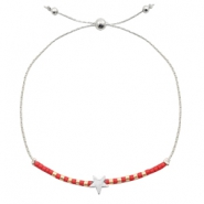 Trendy armbanden met ster Red-silver