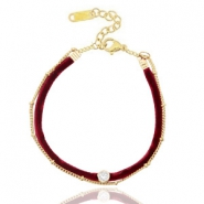 Trendy armbanden velvet met jasseron Port red-gold