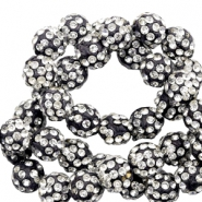 Strass kralen 10mm Black-silver