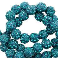 Strass kralen 6mm Teal blue