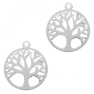Roestvrij stalen (RVS) Stainless steel bedels tree of life 15mm Zilver