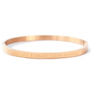 "Roestvrij stalen (RVS) Stainless steel armbanden ""LOVE LIFE AND ENJOY EVERY MOMENT"" Rosé goud"