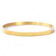 "Roestvrij stalen (RVS) Stainless steel armbanden ""LOVE LIFE AND ENJOY EVERY MOMENT"" Gold"