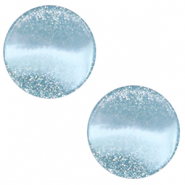 12 mm platte cabochon Polaris Elements Stardust Sky blue