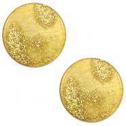 12 mm platte cabochon Polaris Elements Stardust Gold-mineral yellow