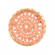 Gehaakte hanger rond 33mm Gold-peachy orange