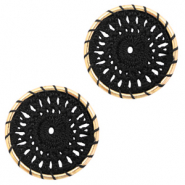 Gehaakte hanger rond 22mm Gold-black