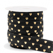Elastisch lint hearts Black-gold