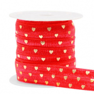 Elastisch lint hearts Red-gold