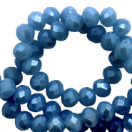 Top Facet kralen 3x2 mm disc Blue-pearl shine coating