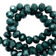 Top Facet kralen 6x4 mm disc Deep green-pearl shine coating