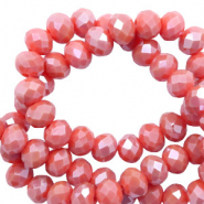 Top Facet kralen 4x3 mm disc Vintage coral red-pearl shine coating