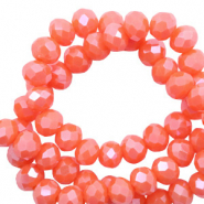 Top Facet kralen 6x4 mm disc Tigerlily coral red-pearl shine coating