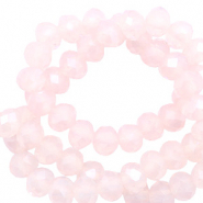 Top Facet kralen 6x4 mm disc Silk peach opal-pearl shine coating